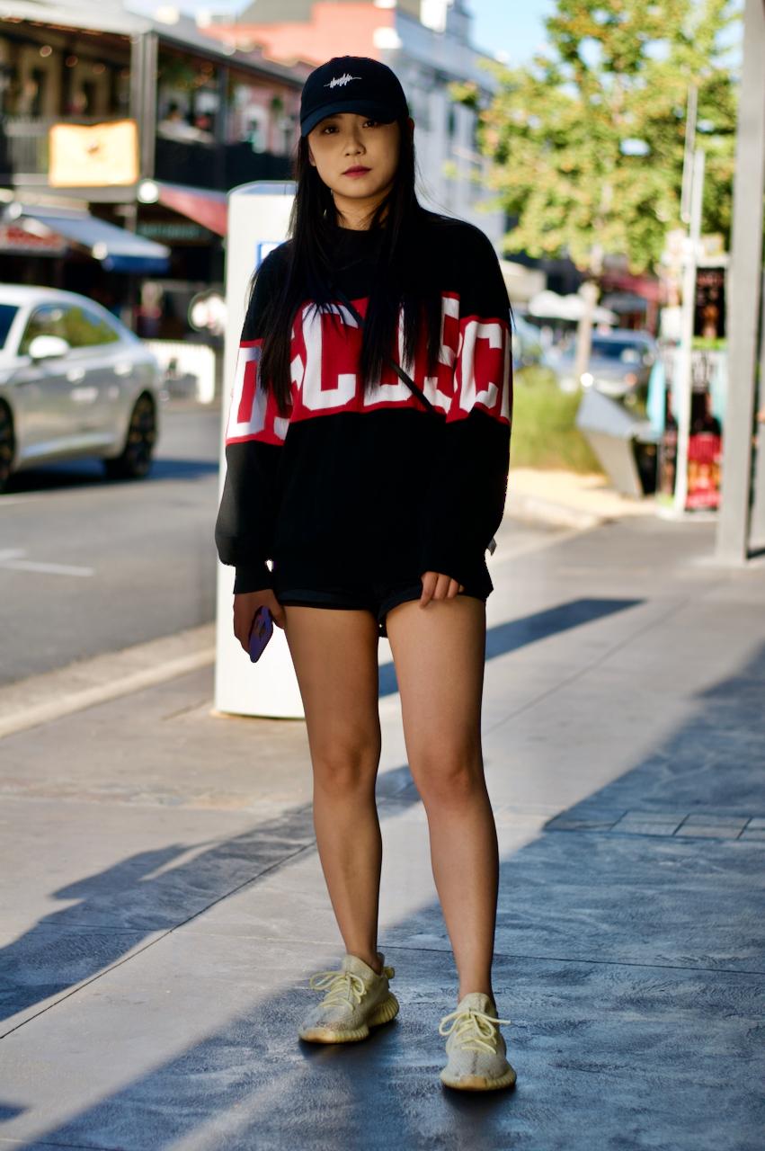 "Adelaide: Nancy, Student, Rundle Street East. ""Wearing GCDS."""