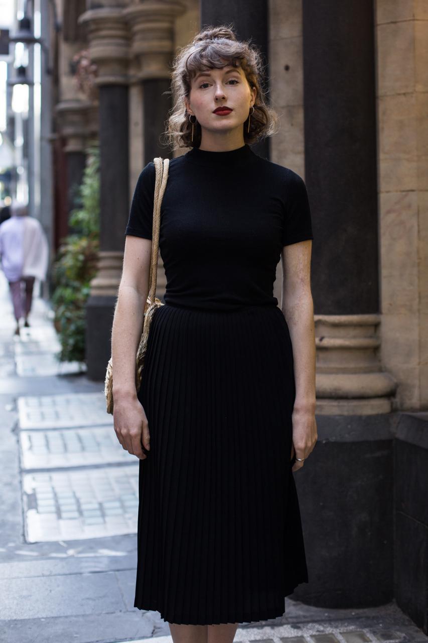 """VIC: Annalise Bosnjak, Little Collins St, Melbourne. """"Colour blocking."""" Photo: Zoe Kostopoulos"""