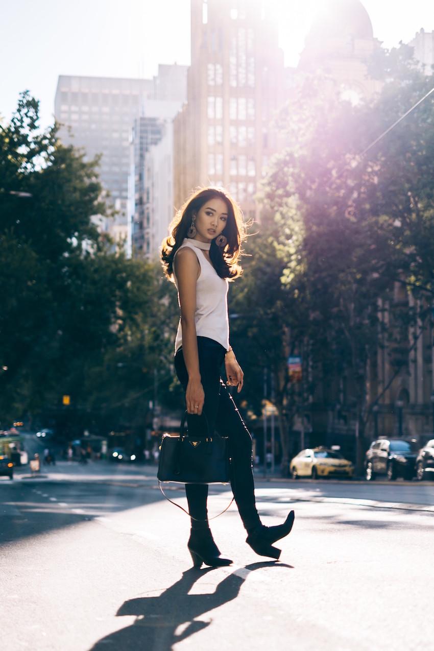 "Vic: Cynthia Djaya, Lifestyle Blogger, Collins St.  ""Strolling around Melbourne.""Photo: Rio Wirjosoekarto"