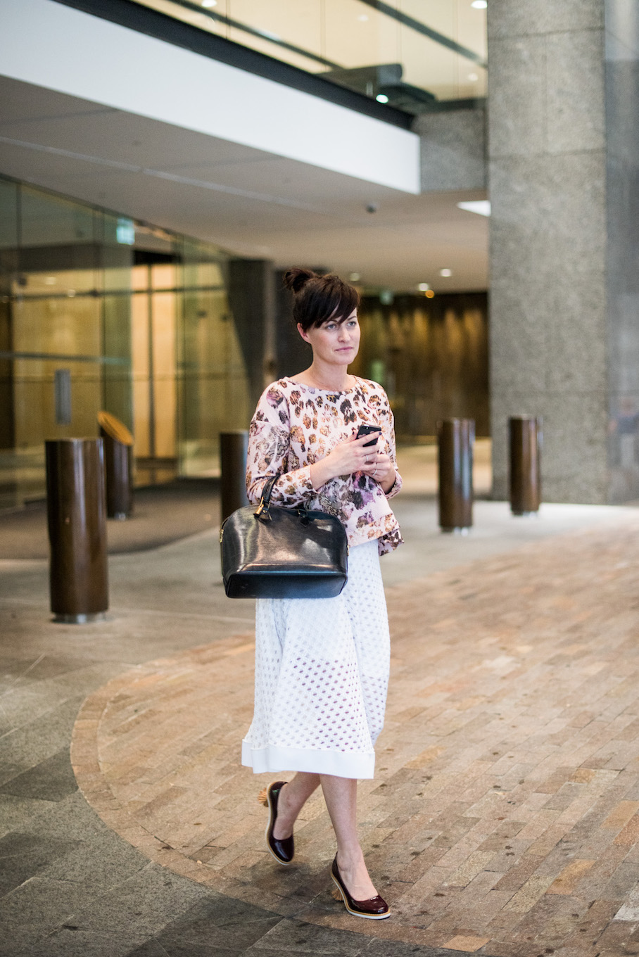 "NSW: Rachael Cooper, Customer Strategy, out front of the Westin Sydney. ""I believe fashion is what makes people smile."" Photo: <a href=""http://frederiquemadi.com/"" target=""_blank"">Frédérique Madi </a>"