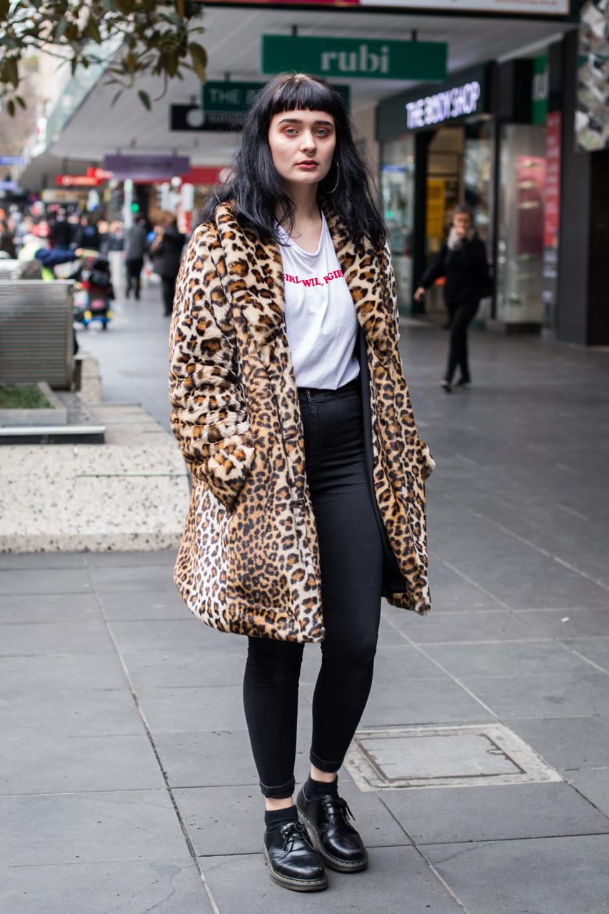 "VIC: Taylor Medwin, sales assistant, Bourke St, Melbourne. ""Korean streetwear meets Melbourne streetwear."" Photo: Zoe Kostopoulos"