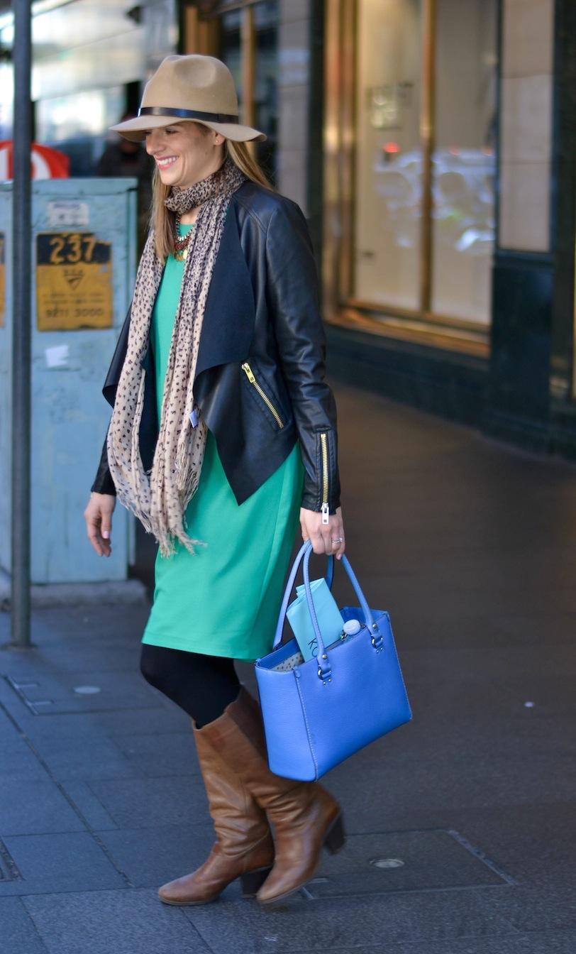 "NSW: Rachel Worden, stylist, Pitt St. ""My style is classic, animal print, High St combo!"" Photo: Alice Scriberras"
