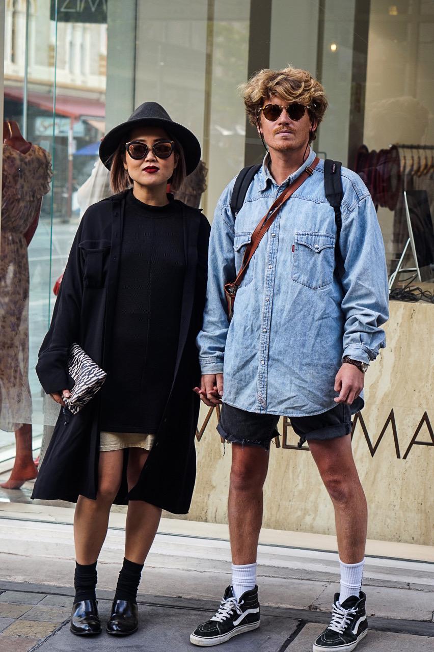 "SA: Yoshi (L)  Hairdresser, ""Love fashion, fashion, fashion."" Kyle (Travelling Tradie), """"Enkle"". Rundle St East."