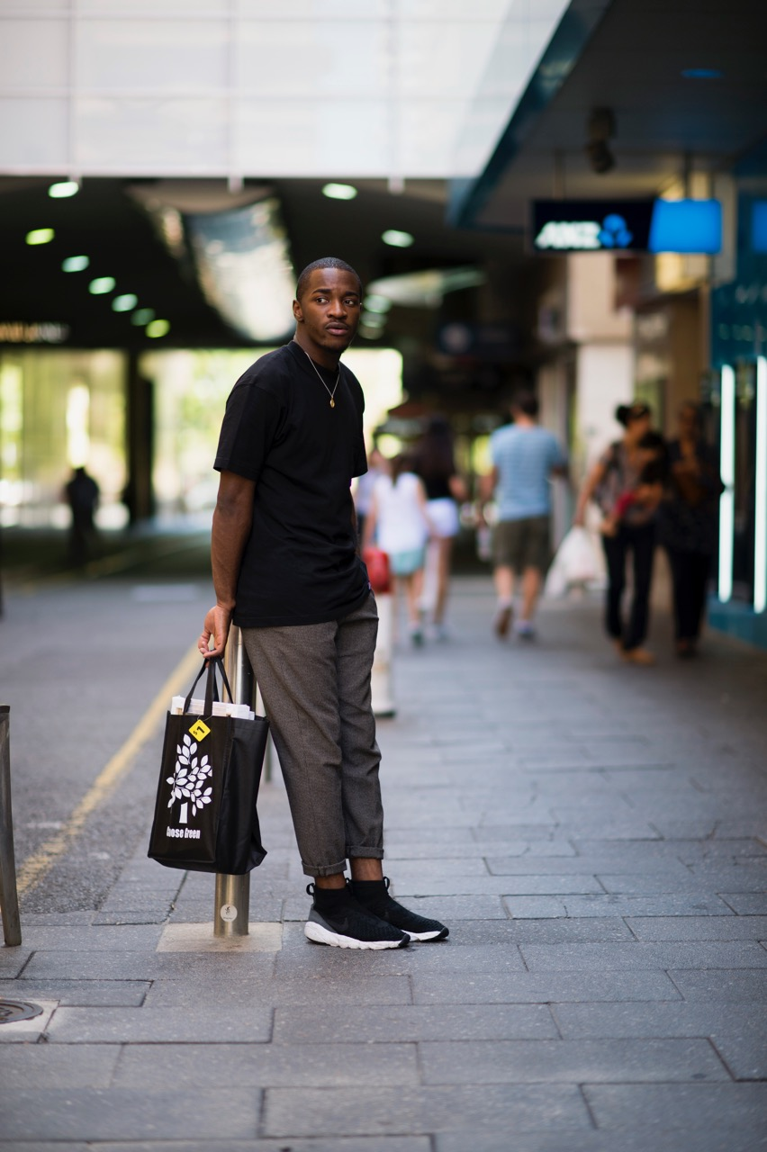 "SA: Pierre Mukeba, Charles St, Adelaide. ""I've been out shopping!"" Photo: Eli Francis"