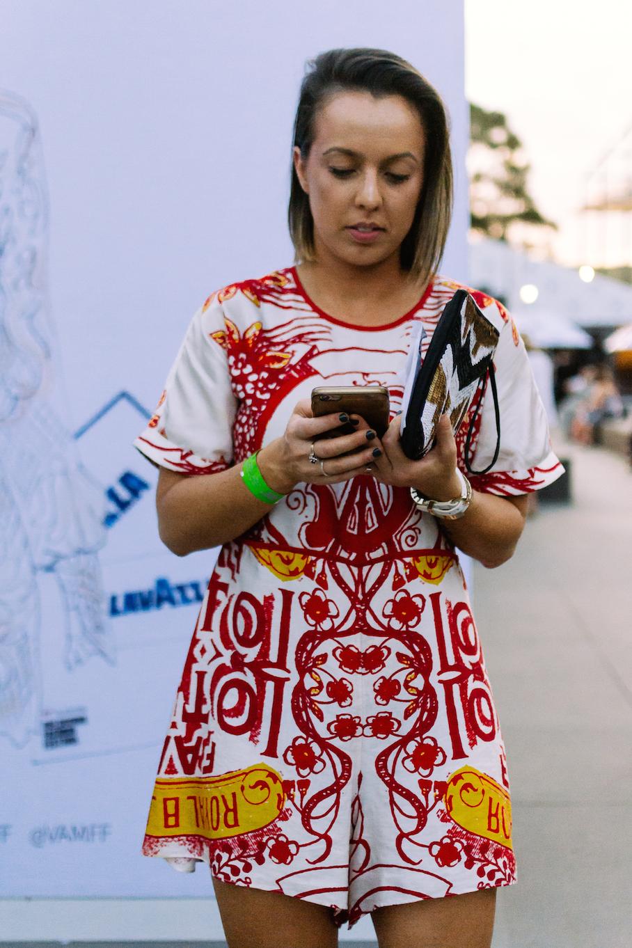 Vic: Alyssa Simpson, Food & Wine Instagrammer, at Melbourne's Fashion Festival.