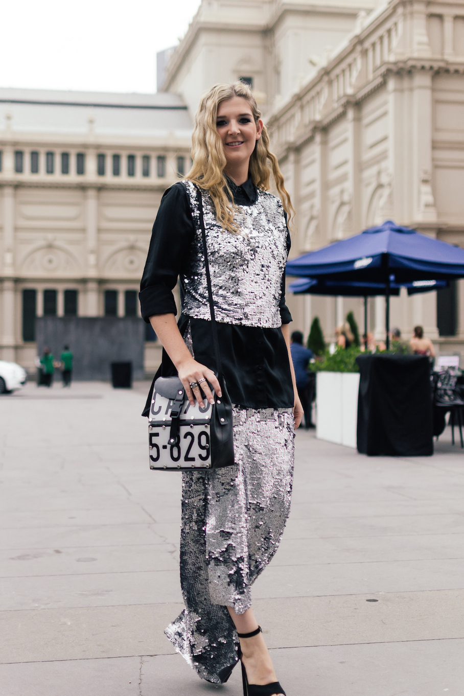 "Vic: Jonté Pike, <a href=""http://www.jontedesigns.com/"" target=""_blank"">Designer</a>, Fashion Plaza at VAMFF, wearing her own design and bag ""that I bought from a street vendor in South Africa"". Shoes from Betts ."