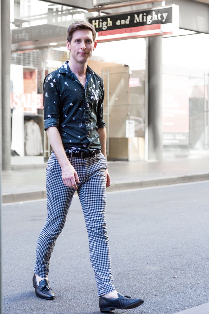 "VIC: Jake Meyer, sales assistant, Little Bourke St. ""I like to look a little left of centre."" Photo: Libby Matson"