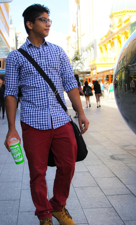 "Ronnie Relan, student, Rundle Mall, Adelaide. ""Yeah!"" Photo: Maciek"