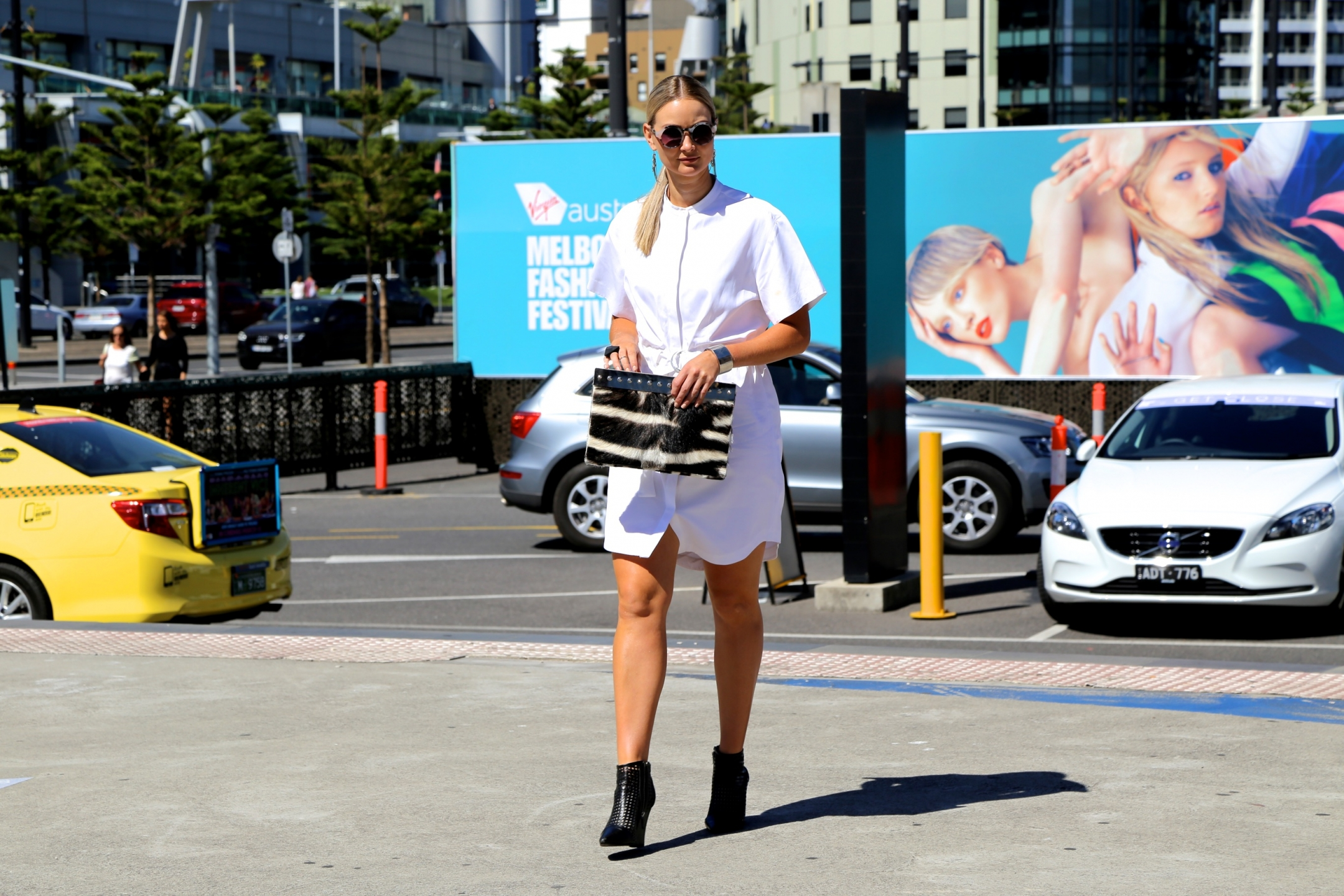 Vic: Bree, Aussie TV presenter and model, snapped at the Melbourne Fashion Festival, Docklands.