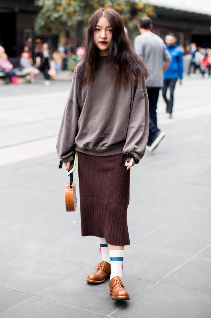 "VIC: Yoko, Student, Bourke St, Melbourne. ""Vintage x Japanese."" Photo: Zoe Kostopoulos"