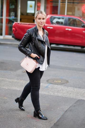 "Adelaide: Mim Harvey, Fashion Designer, Union St. ""Mixing low shine with high shine leather."""
