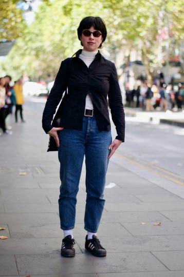 "Melbourne: Celline Saban-Friend, Journalism Student, Bourke St. ""Post punk. I'm a brandless woman."""