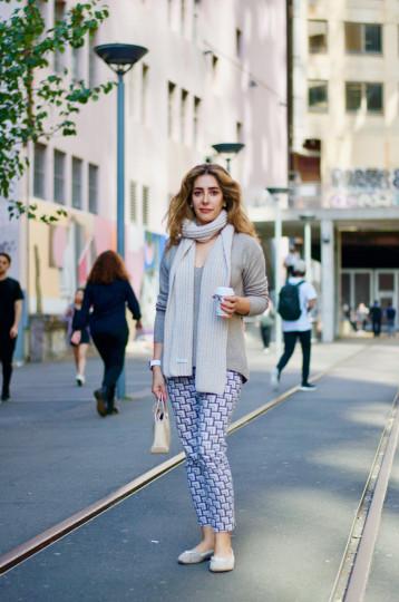 "Sydney: Mehrnaz, Lecturer, The Good Line. ""My autumn outfit."""