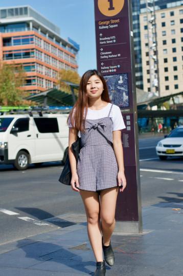 "Sydney: Sarah Hunh, Education & International Studies Student, George St. ""Girly, playful, streetwear."""