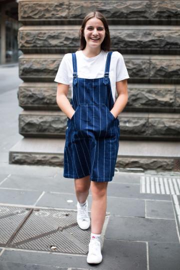 "VIC: Georgia Downey, Melbourne CBD. ""I really like Gorman clothing!"" Photo: Zoe Kostopoulos"