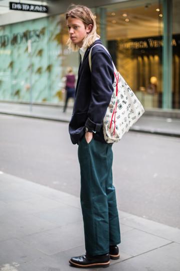 "VIC: Jack Ryan, Little Bourke St, Melbourne. ""80's, oversized, structured."" Photo: Zoe Kostopoulos"
