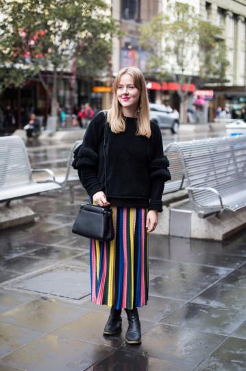 "VIC: Lauren Sullivan, student, Bourke St Mall, Melbourne. ""Relaxed"". Photo: Zoe Kostopoulos"