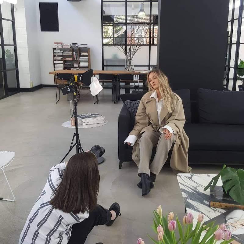 Jenna Flood at work on a slow fashion shoot