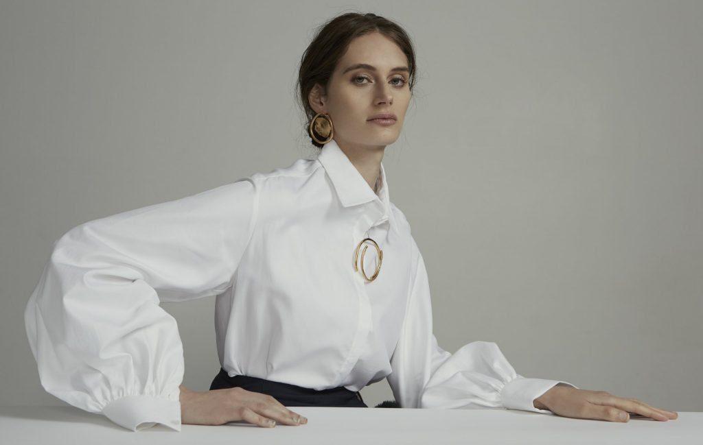 woman in white shirt by Anna Quan,  designer in Australian Fashion Week 2021