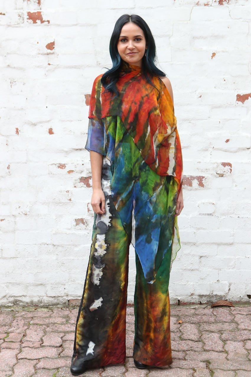 Aboriginal Fashion DesignerLyn-Al Young wearing her own design