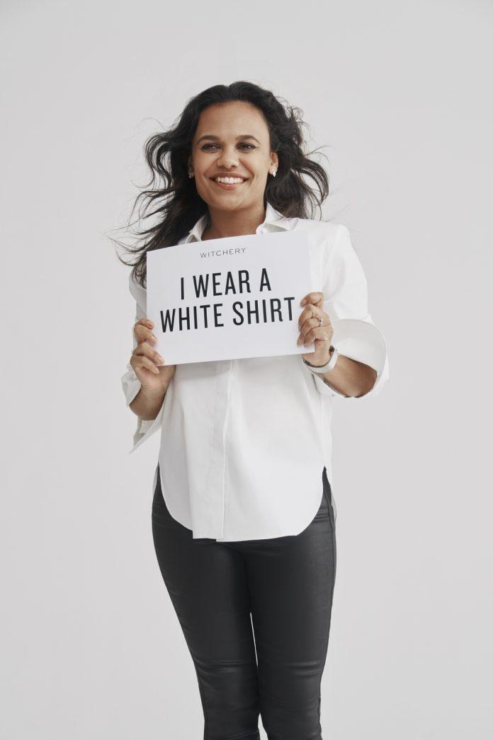 White Shirt by Witchery modelled by Miranda Tapsell