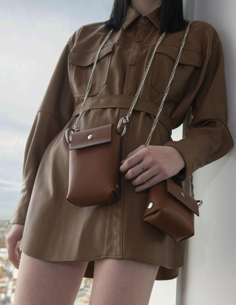 tan leather bag  by Katya Komarova
