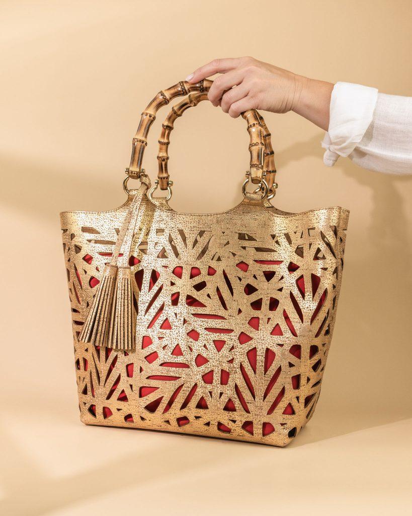Laser cut patterns on Cork handbag