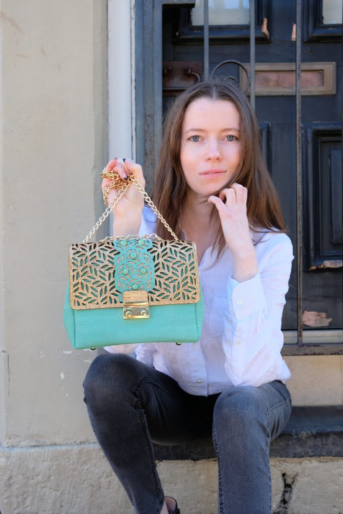 Serena Christie with one of her Cork bags from her new label Kobi Collection