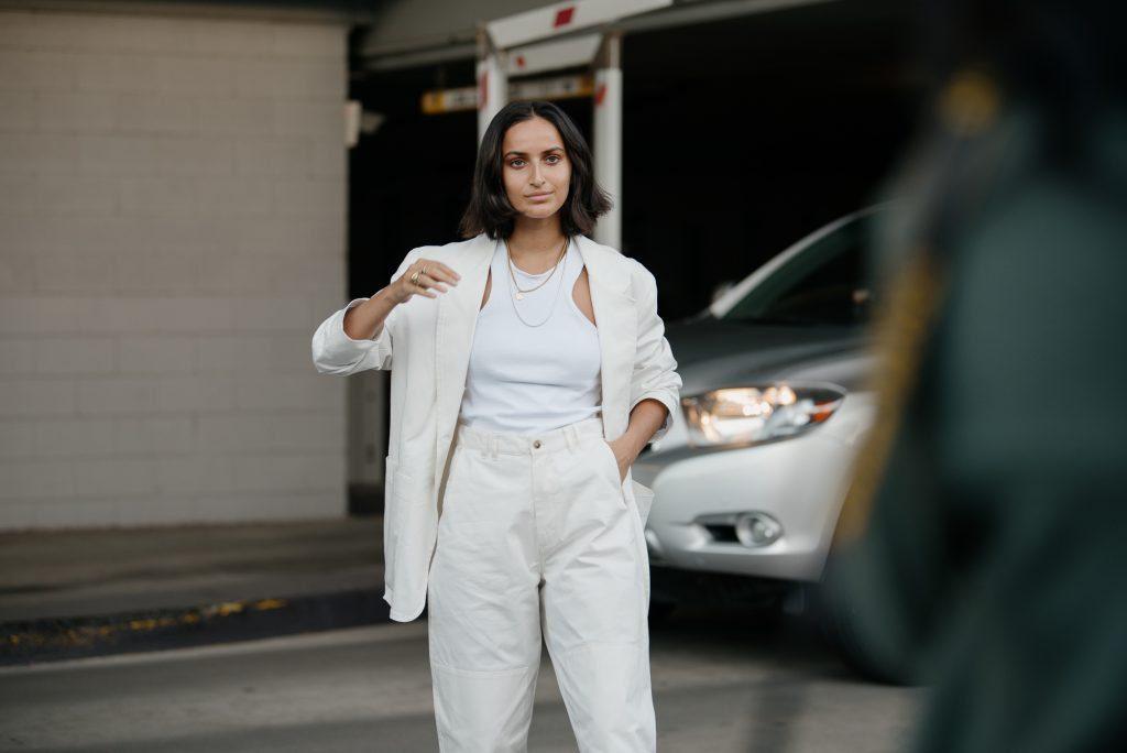 Individual Street Style at Fashion Week- woman wearing all white