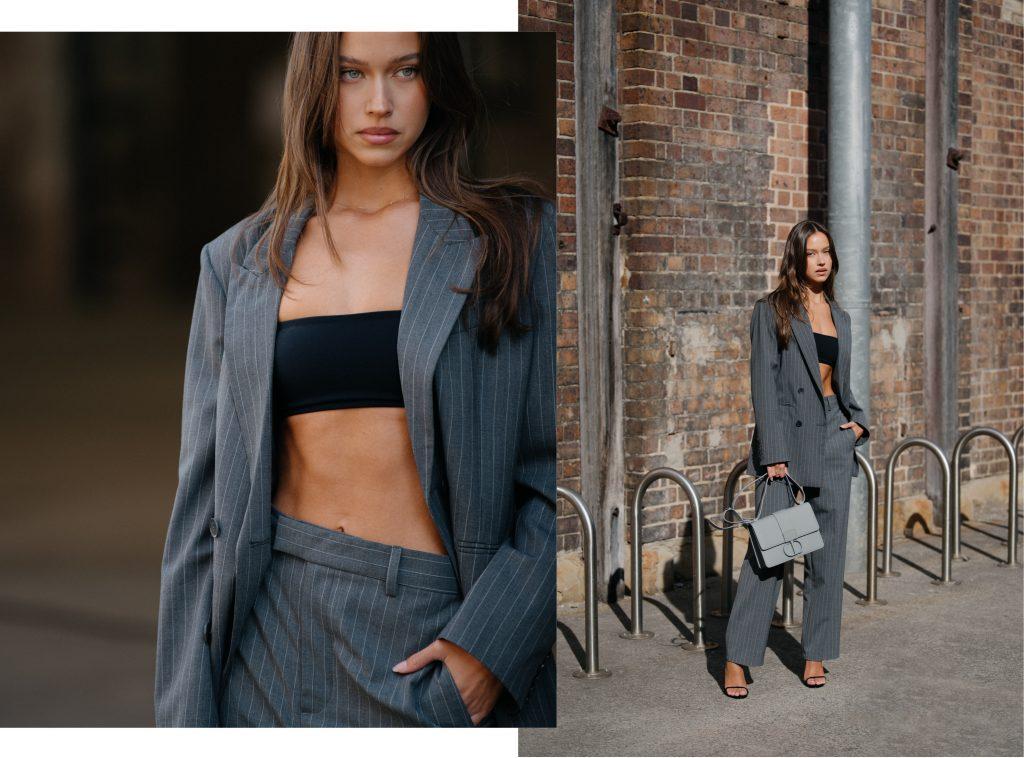 oversized pinstripe suit on model - sydney streetstyle