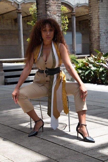 Faye Delanty borrowing men's ties to style this look