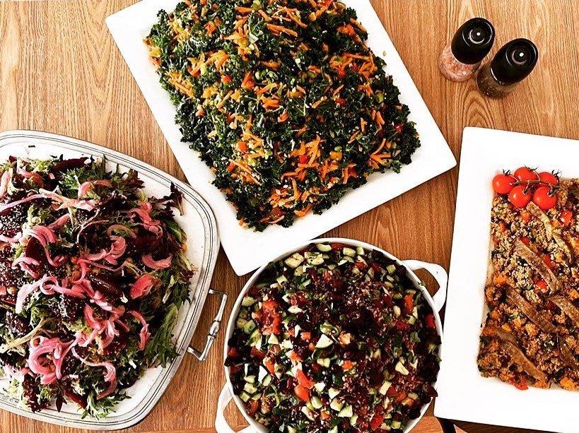 Vegan food spread by Joy of Flora Vegan Cafe