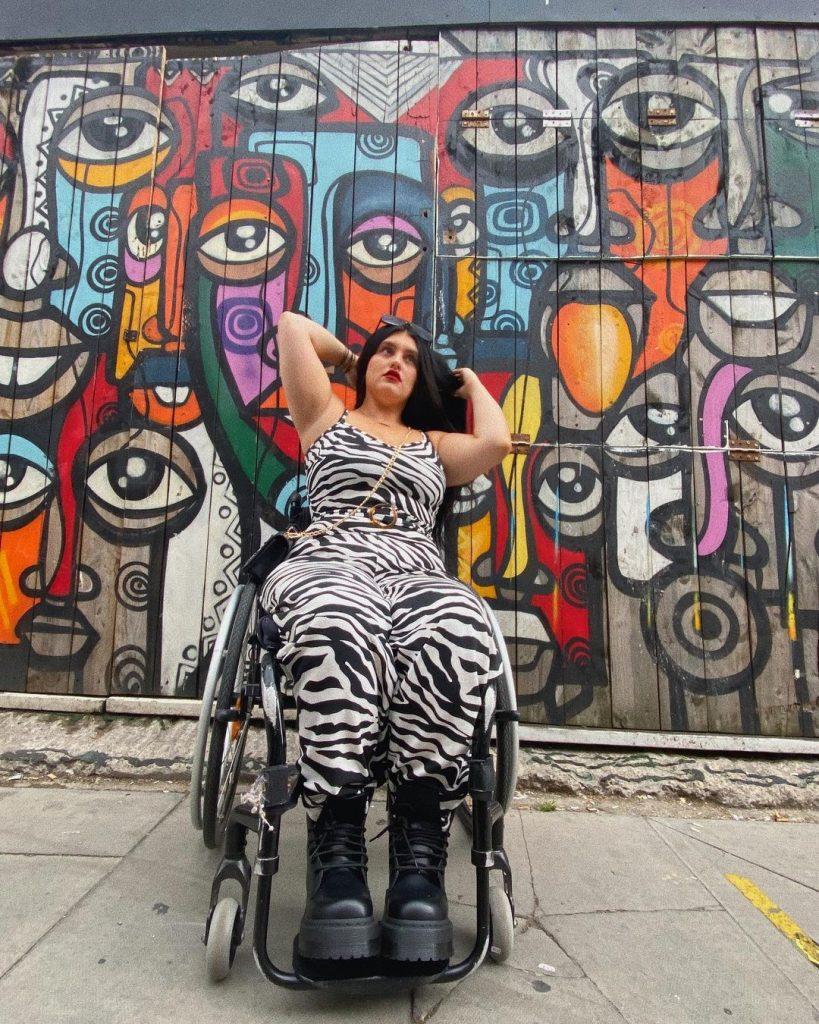 Disabled plus size fashion model