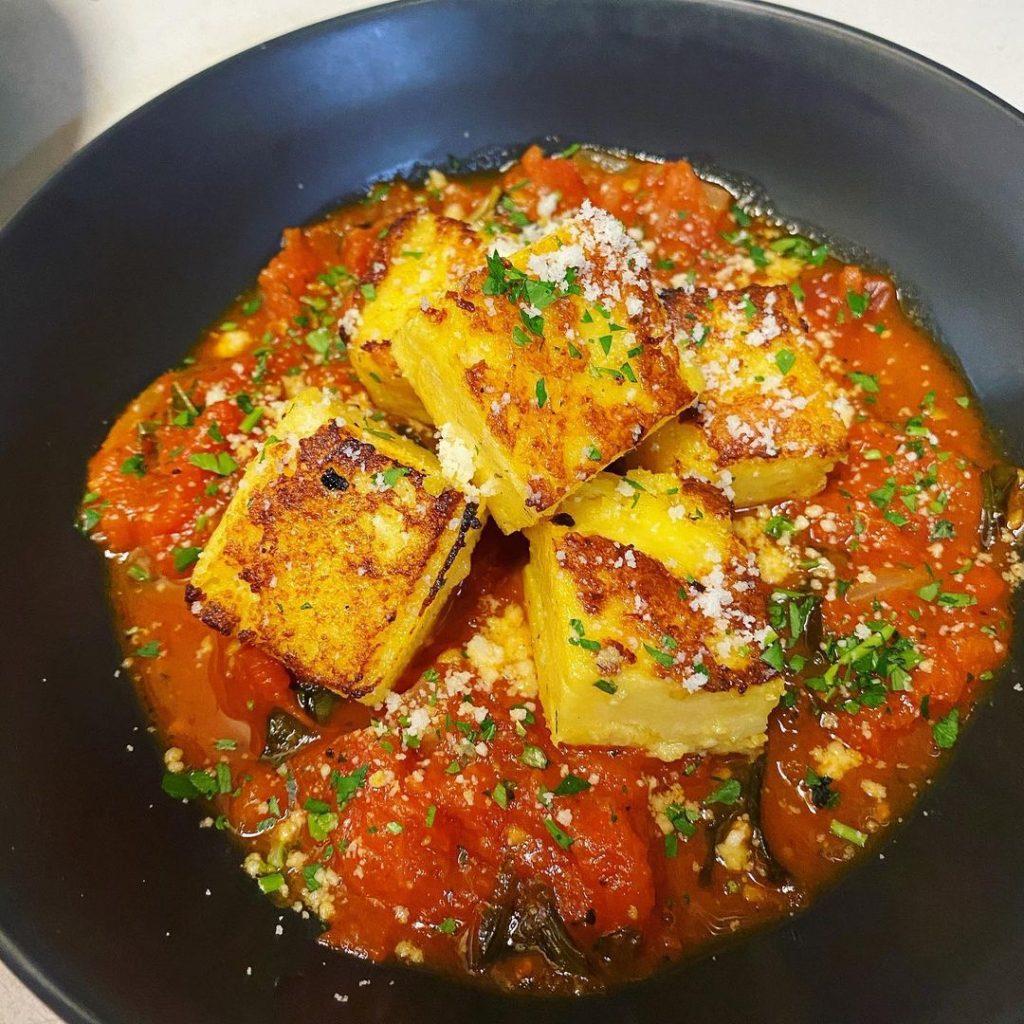 Tofu vegan dish by Sarah's Sister's Vegan Cafe