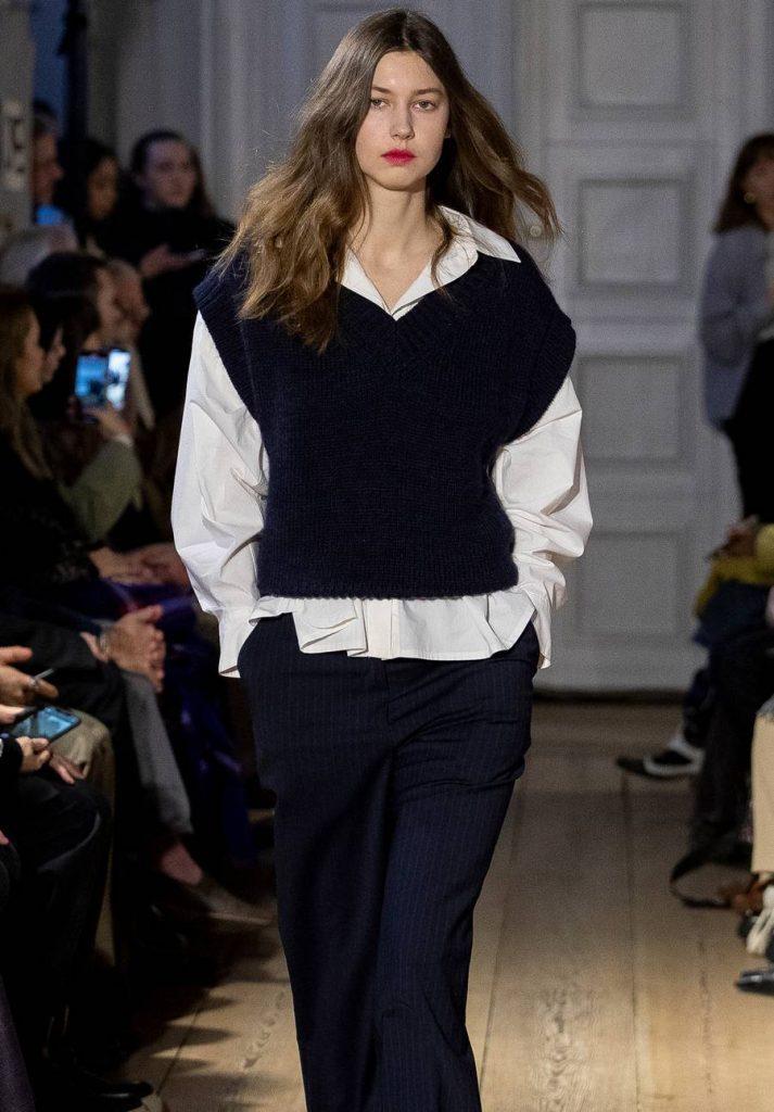Black sweater vest on the Copenhagen Fashion week runway